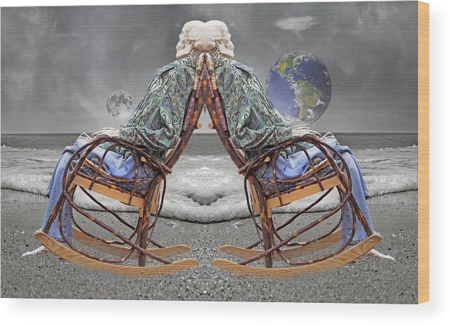 Human Wood Print featuring the digital art 382500 Kilometers by Betsy Knapp