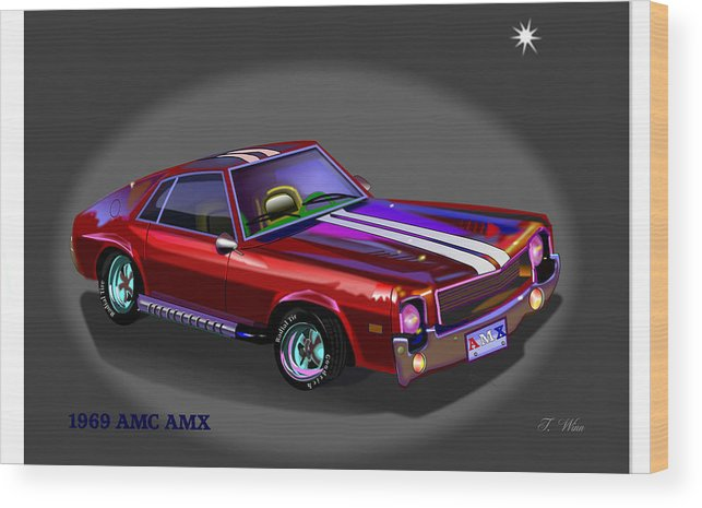 Car Wood Print featuring the digital art 69 Amc Amx by Tommy Winn