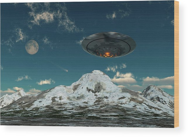 Horizontal Wood Print featuring the photograph A Ufo Flying Over A Mountain Range by Mark Stevenson