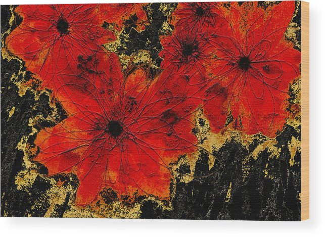Flower Wood Print featuring the digital art Abstract Red Flower Art by Ann Powell