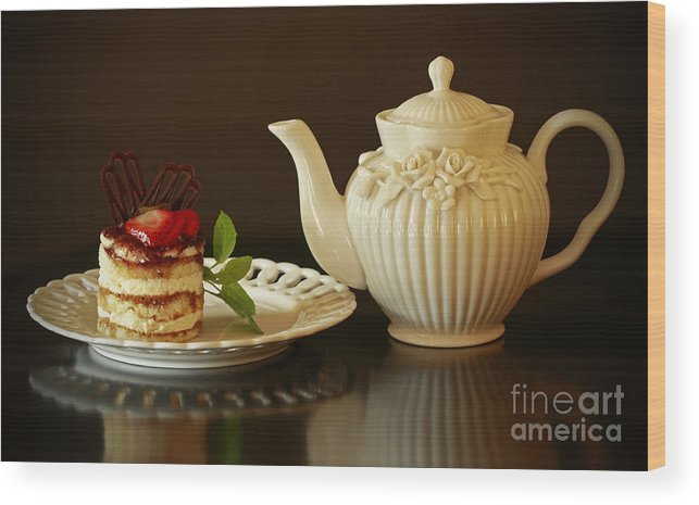 Afternoon Tea And Tiramisu Wood Print featuring the photograph Afternoon Tea And Tiramisu by Inspired Nature Photography Fine Art Photography