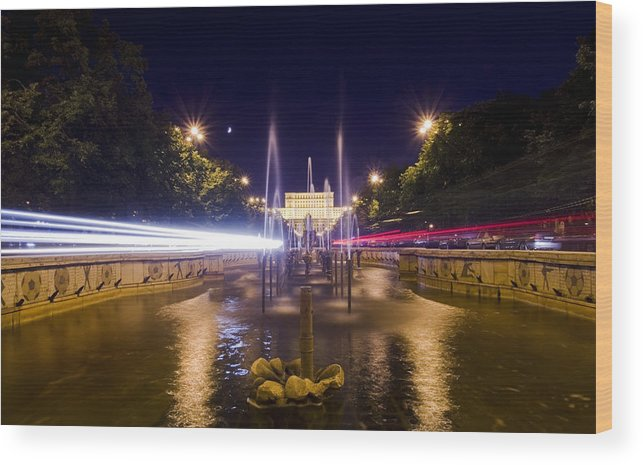 Architecture Wood Print featuring the photograph Bucharest Night Traffic by Ioan Panaite