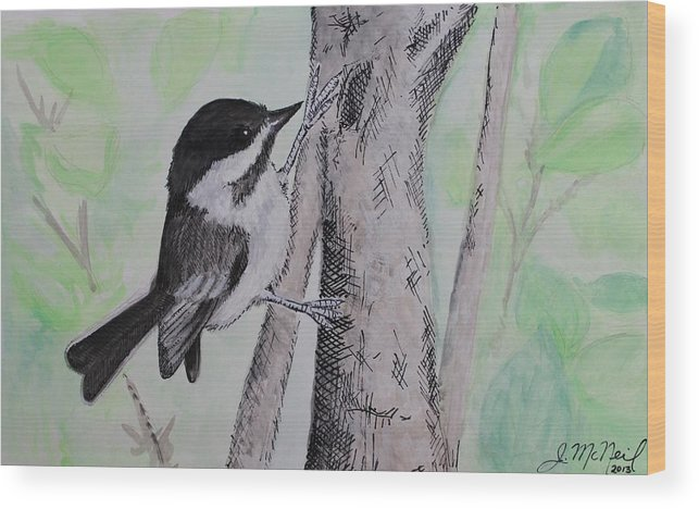 Birds Wood Print featuring the painting Chickadee by Janna McNeil