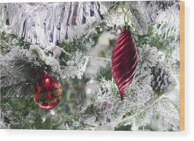 Christmas Wood Print featuring the photograph Christmas Tree Baubles by John Chatterley
