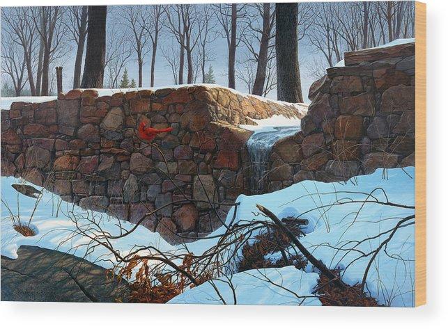 Paintings Wood Print featuring the painting Crimson Morning by Tom Wooldridge