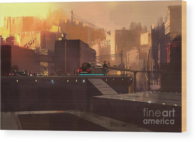 Fi Wood Print featuring the digital art Digital Painting Showing Futuristic by Tithi Luadthong