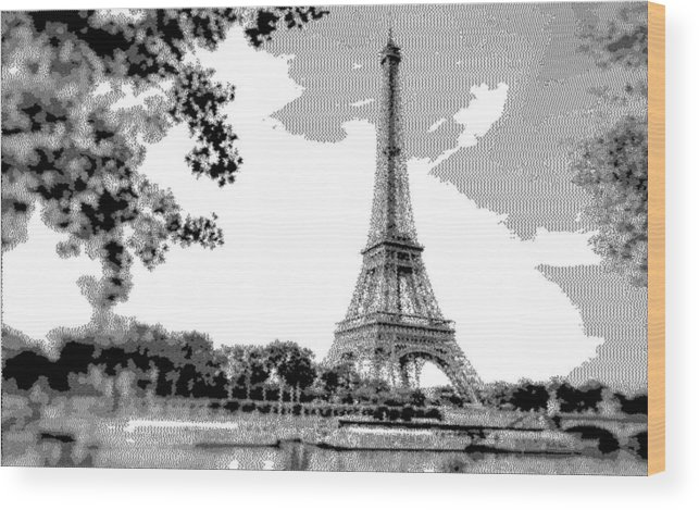 Eiffel Tower - Cross Hatching Wood Print