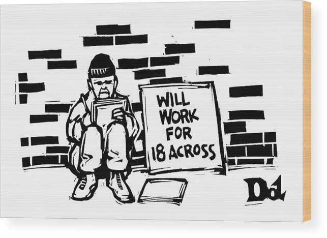 Homeless Wood Print featuring the drawing Homeless Man With Sign That Reads: Will Work by Drew Dernavich