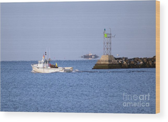 Boat Wood Print featuring the photograph Into The Blue by Joe Geraci