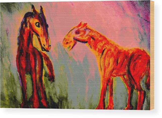 Horses Wood Print featuring the painting You Will Be Living In My Dreams by Hilde Widerberg