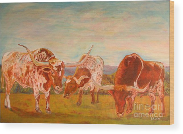 Longhorns Wood Print featuring the painting Longhorns On The Plateau by Jodie Scheller