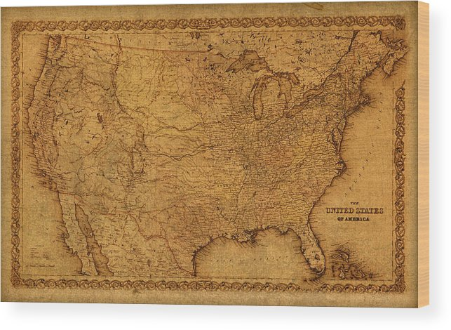 Map Of United States Of America Vintage Schematic Cartography Circa