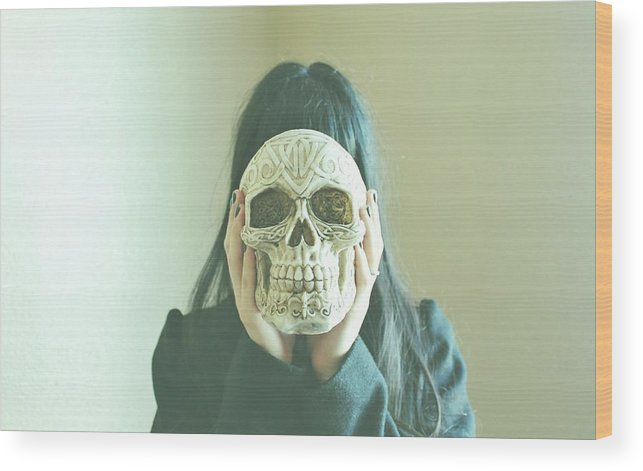 Skull Wood Print featuring the photograph Mitton by Claudia Avila
