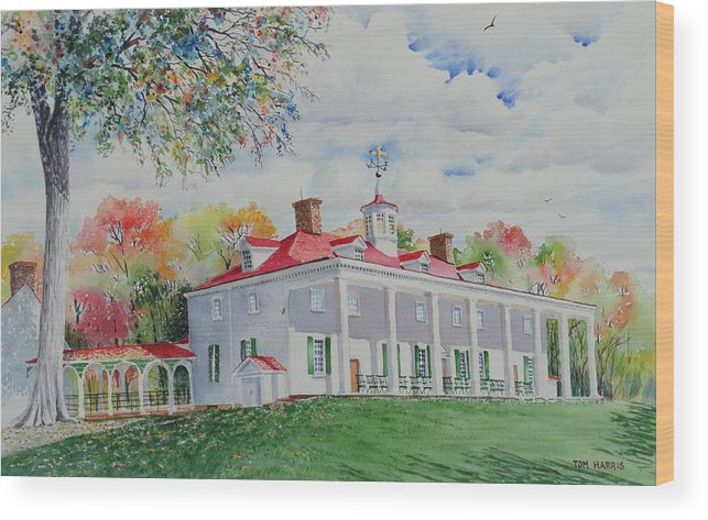 Mount Vernon Wood Print featuring the painting Mt. Vernon In The Fall by Tom Harris