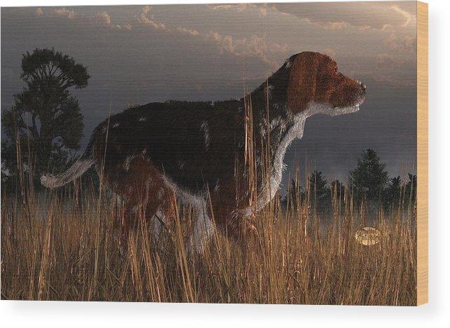 Dog Wood Print featuring the digital art Old Hunting Dog by Daniel Eskridge