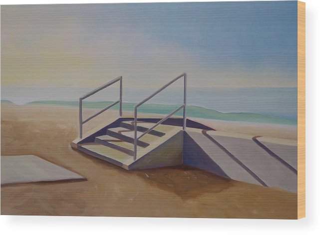 Steps Wood Print featuring the painting Steps To Beach by Lety Garcia