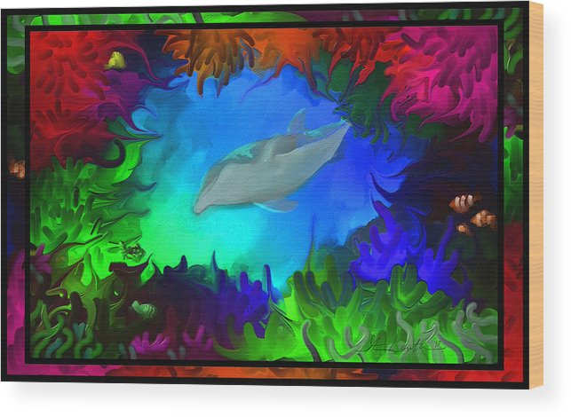 Sea Wood Print featuring the painting The Colorful Sea by Steven Lebron Langston