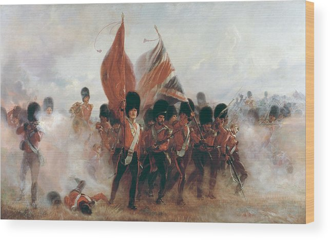 Crimea Wood Print Featuring The Painting Colors Advance Of Scots Guards At Alma