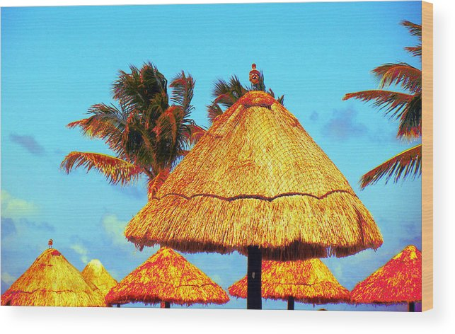 Beach Wood Print featuring the photograph Tiki Huts by J Anthony