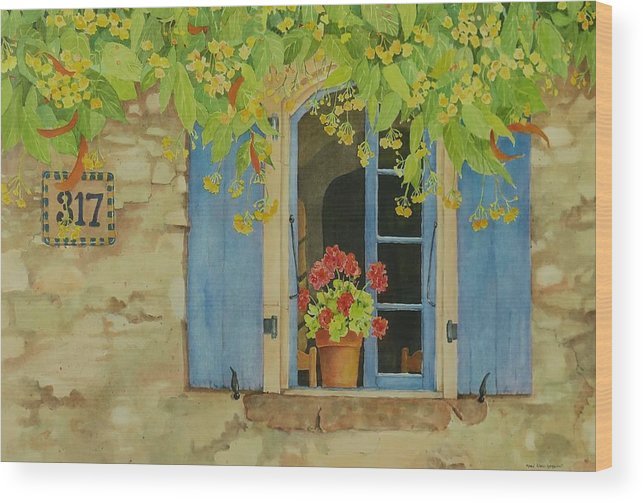 France Wood Print featuring the painting Vacation Memory by Mary Ellen Mueller Legault
