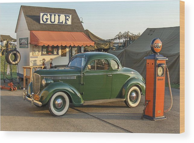 Gulf Service Station Wood Print featuring the photograph 1942 Gulf Service Station With Antique Car by Angelo Rolt