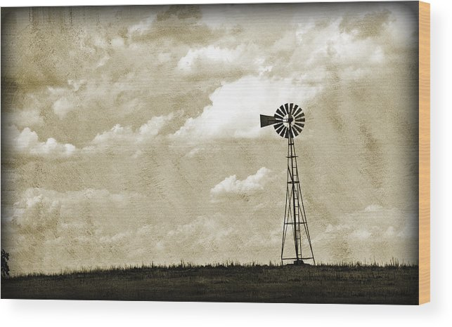 Agriculture Wood Print featuring the photograph Windmill by Malania Hammer