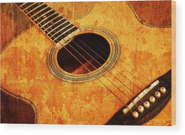 Aged Wood Print featuring the mixed media Old Guitar by Nattapon Wongwean