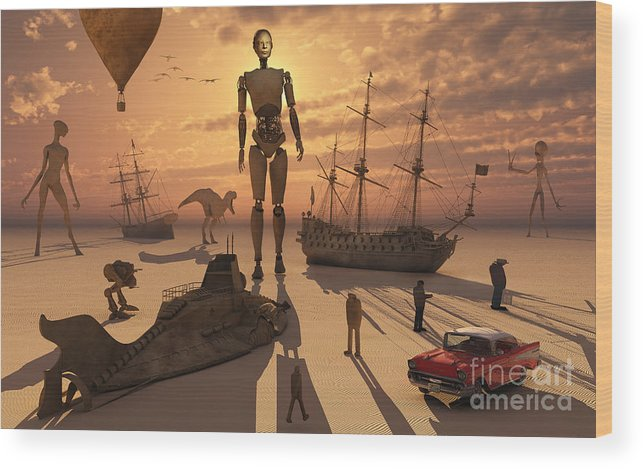 Lost Wood Print featuring the digital art A Bizarre And Surreal Sculpture Park by Mark Stevenson
