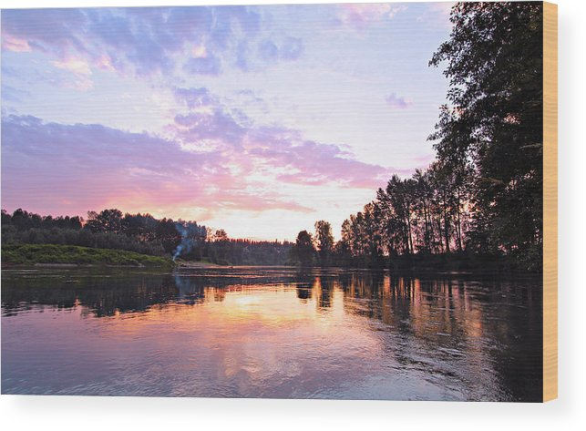 Landscape Wood Print featuring the photograph Camp Fire Sunset by Paul Fell