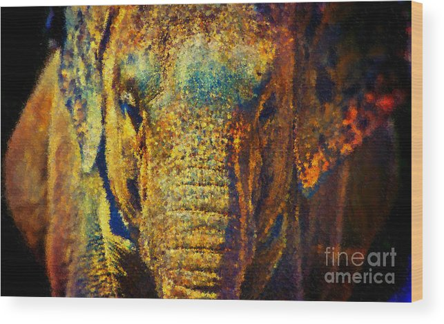 Elephant Wood Print featuring the painting Circus Elephant by Susan Holsan
