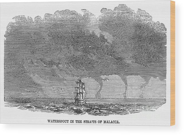 1858 Wood Print featuring the photograph Malacca: Waterspouts by Granger