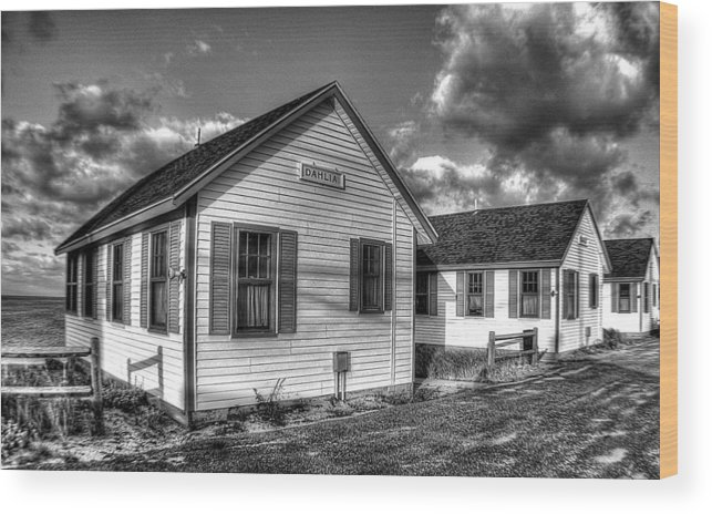 Cottages Wood Print featuring the photograph Provincetown Cottages Bw by Lucia Vicari