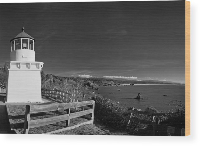 Trindidad Memorial Lighthouse Wood Print featuring the photograph Trinidad Memorial Lighthouse In Black And White by Greg Nyquist