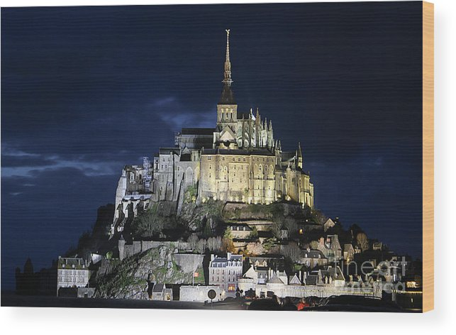 Mont St Michel Wood Print featuring the photograph Mont St. Michel At Night by Joshua Francia