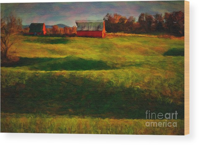Red_barn Wood Print featuring the photograph Rolling Hills And Red Barn, Rock Island, Tennessee by Stanton Tubb