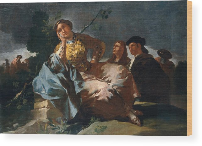 Europe Wood Print featuring the painting The Date by Francisco Goya