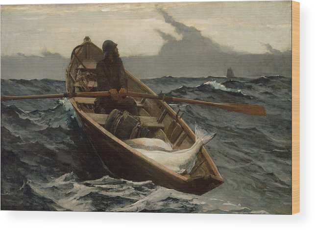 Angler Wood Print featuring the painting The Fog Warning by Winslow Homer