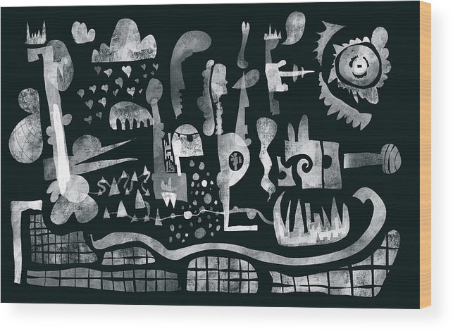 Wood Print featuring the drawing 2017-04-08-black-white by Jemal Diamond
