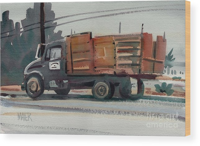 Truck Wood Print featuring the painting After Deliveries by Donald Maier