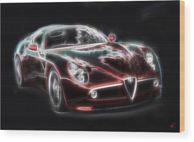 Alfa Romeo Wood Print featuring the digital art Alfa by Kenneth Armand Johnson