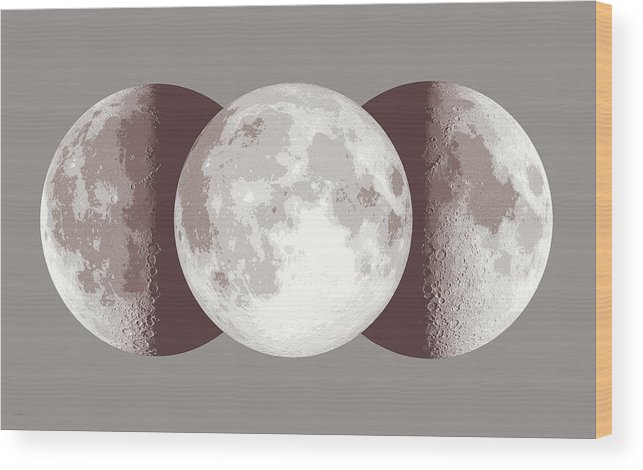 Moon Wood Print featuring the painting Antique Moon by Don Dixon