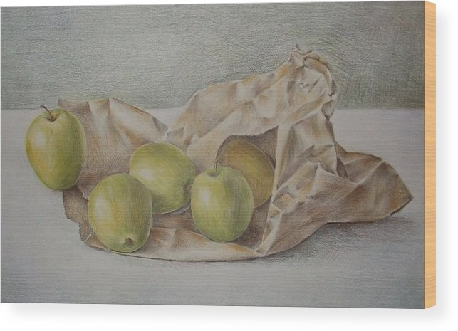 Drawing Wood Print featuring the drawing Apples In A Paper Bag by Jubamo