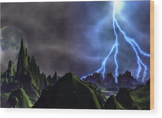 David Jackson Approaching Storm Venus Alien Landscape Planets Scifi Wood Print featuring the digital art Approaching Storm by David Jackson