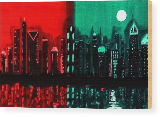 36 Inch Abstract Acrylic Nightscape Wood Print featuring the painting Atlanta by Linda Powell