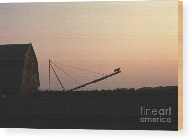 Barn Wood Print featuring the photograph Barn At Sunset by Timothy Johnson