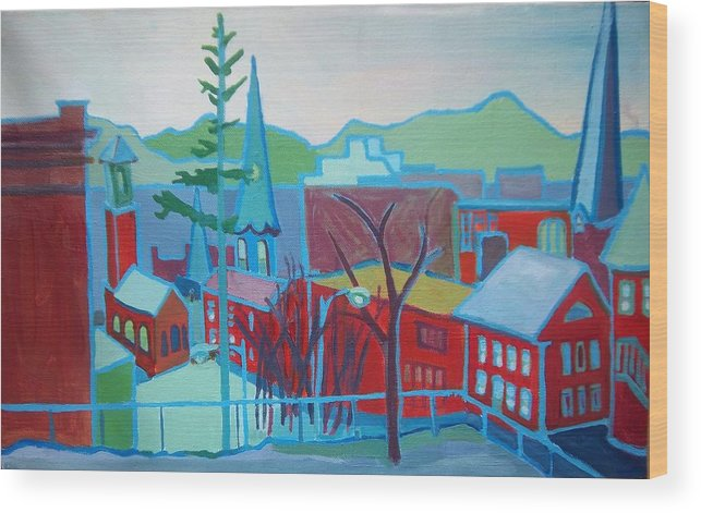 Burlington Wood Print featuring the painting Blue Burlington by Debra Bretton Robinson