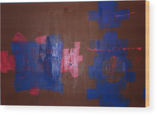Contemporary Abstract Wood Print featuring the painting Burning The Midniht Oil by John Wesley