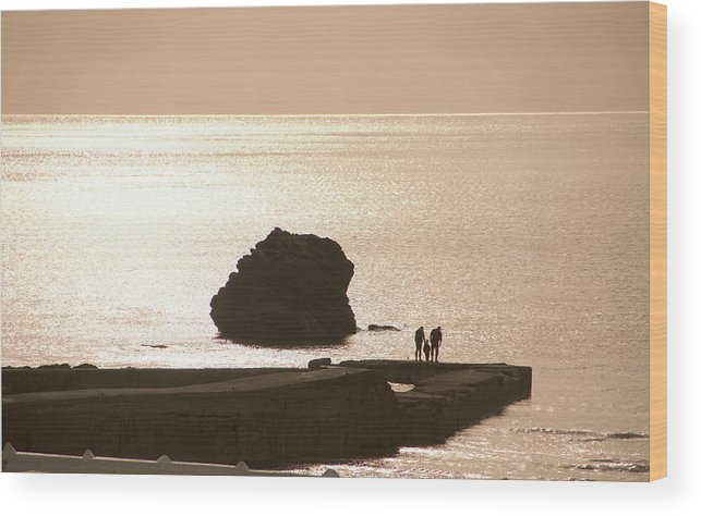 Couple Wood Print featuring the photograph By The Sea by Phil Child