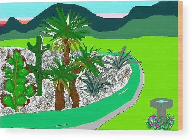 Cactus Wood Print featuring the digital art Cactus Garden by Carole Boyd