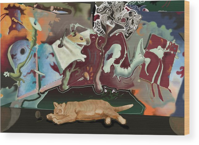 Drawing Wood Print featuring the digital art Cat Dreams II by Tom Durham